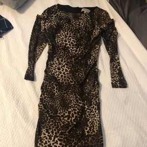 Philosophy S knit 3/4 sleeve leopard midi dress